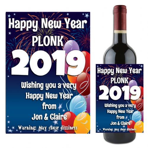 Personalised Happy New Year Celebration Wine / Champagne Bottle Label N18 ANY YEAR